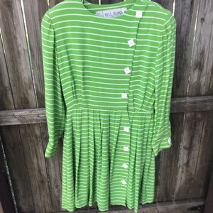 Bill Blass Green and White Striped Dress